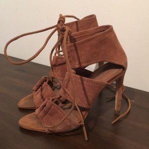 Zara Suede lace up heels